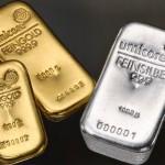 Goldbarren und Silberbarren
